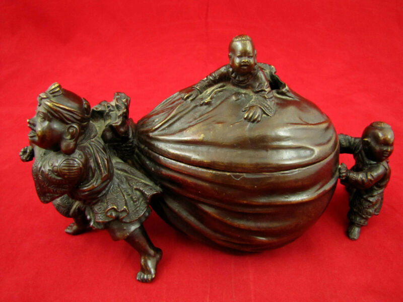 Antique Bronze Incense Burner of Three Boys Pulling  Fortune Bag