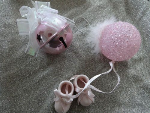 BABY GIRLS LOT 3 ORNAMENTS PKG TOPPERS BOOTIES SHOES PORCELAIN PINK SHOWER VGUC