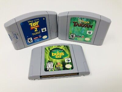 A Bugs Life, Toy Story 2 + Tarzan Nintendo 64 Disney Games Bundle Lot Of 3 N64