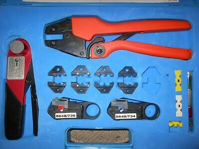 Bnc Coax Crimper Kit R-5761 5648d2 Crimpers With Dies Strippers