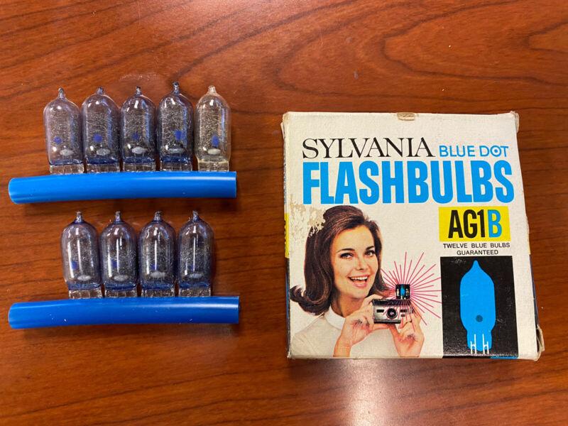 9 Sylvania Blue Dot Flashbulbs AG1B New Old Stock