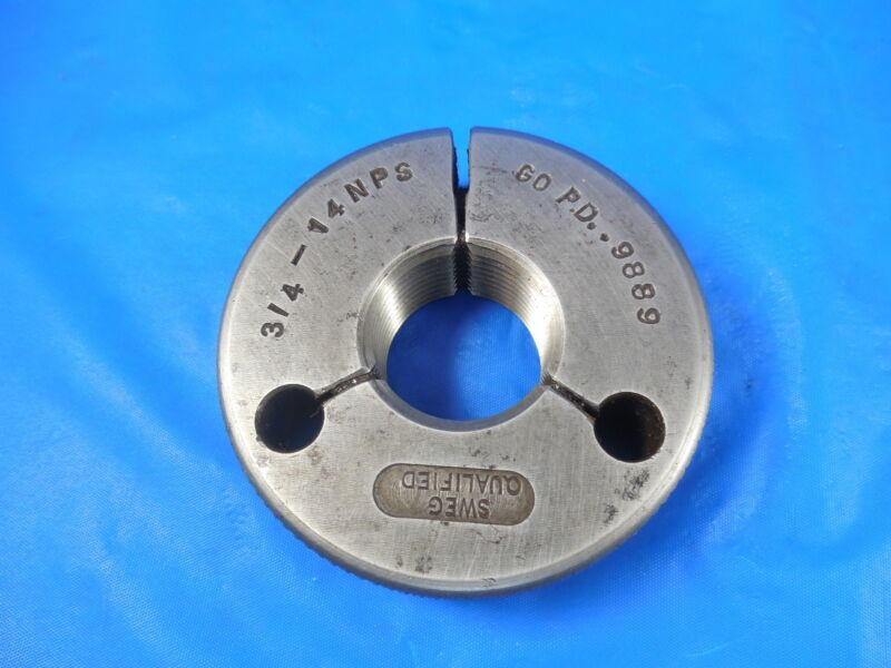 3/4 14 NPS THREAD RING GAGE .75 GO ONLY P.D.= .9889 MACHINE INSPECTION TOOLING