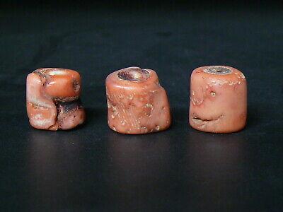(uA285) Tibet: Genuine Old Natural Coral Salmon 3 Beads