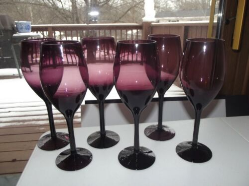 """set (6) Wine Water Goblets Glasses 8-7/8"""", Amethyst Purple blown smooth crystal"""