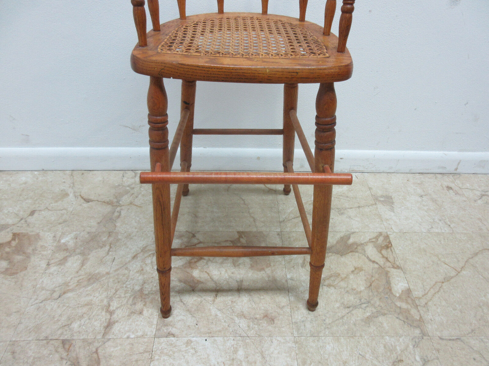 Antique high chair bentwood - Antique Tiger Oak Bent Wood High Chair Stool Chair Childs Doll 4 4 Of 10