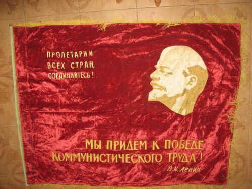 Large FLAG BANNER LENIN velvet ORIGINAL communist PROPAGANDA USSR