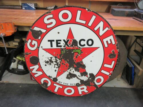 """Rare 1931 Vintage TEXACO Porcelain 42"""" Double sided Sign gas oil advertising"""