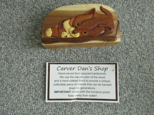 """CARVER DAN  CAT BOX  HAND CARVED  EXOTIC WOOD PUZZLE  BOX  APPROX. 7"""" X 4"""" X2"""""""