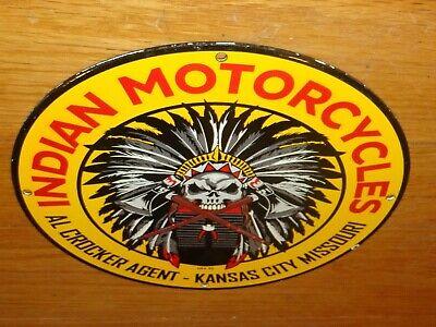 """VINTAGE 1932 INDIAN MOTORCYCLES AL 11 3/4"""" PORCELAIN METAL USA GASOLINE OIL SIGN"""
