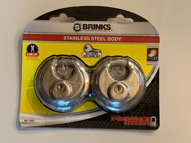 """2 Pk Brinks 2 3/4"""" 70mm ProMax Security Stainless Steel Disc Pad Locks NEW"""