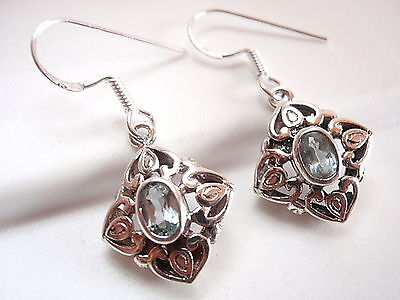 Sterling Floral Earrings - Small Faceted Blue Topaz Earrings 925 Sterling Silver Floral Filigree Style New