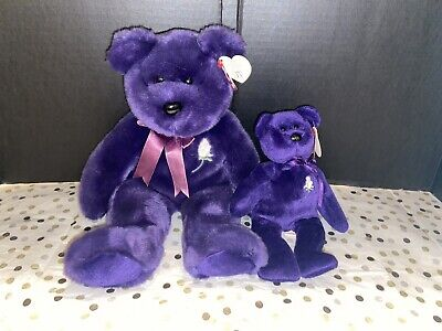 Ty Beanie Baby PRINCESS Diana Bear Baby & Buddy w/tag Retired 2pc Lot Purple