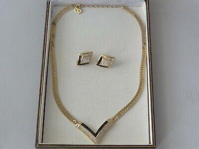 Christian Dior GoldTone Crystals/Black Enamel V Necklace & matching Earrings Set