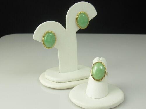 Jade Ring Earring Set 14K Yellow Gold Bamboo Size 5.5 Pierced Omega Backs Estate