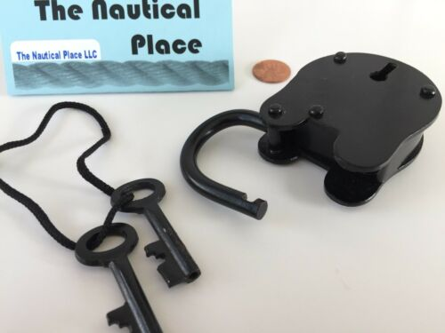 Iron Lock and Keys ~ Old Vintage Antique 1800s Style ~ Police Jailer ~ Black