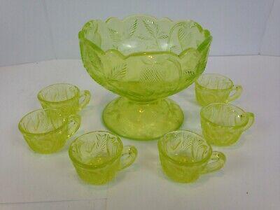 Miniature Punch Bowl Set Vaseline Inverted Strawberry Children's Glass     g57 ()