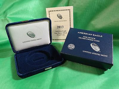 2013 W American Silver Eagle Proof Case + Box + COA, OGP - No Coin Coin Box Coa No Coins