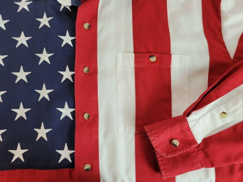 Scully Mens XL Long Sleeve Shirt Western American Flag