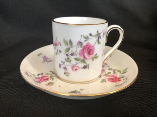Vintage Cup & Saucer By Crown Staffordshire England Demitasse Roses Bone China