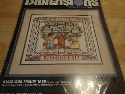 Bless Our Family Tree, Dimensions Stamped Cross Stitch, complete unopened kit ()