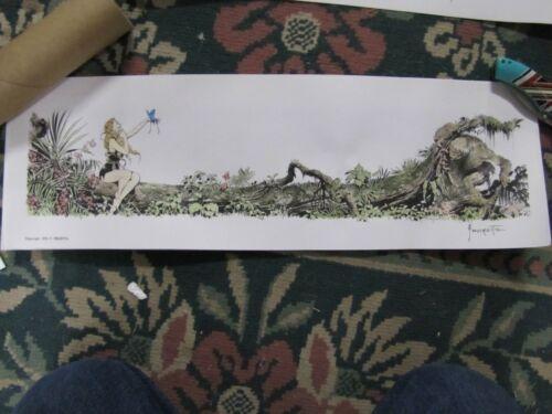 Frank Frazetta--Beauty & The Beast- hand painted & signed art print  ( brown )