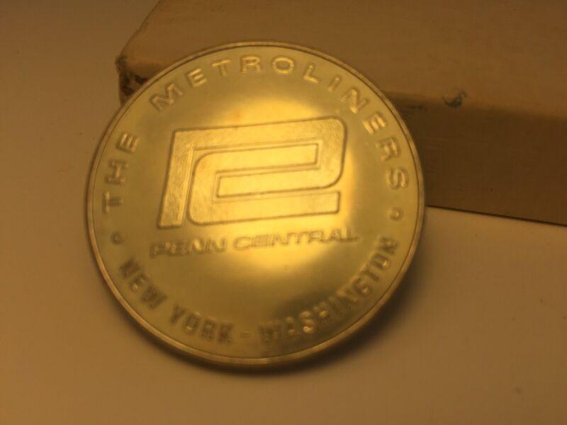 1969 PENN CENTRAL NEW YORK WASH. METROLINERS INAUGURAL RUN SOUVENIR Coin