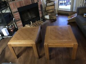 Two large side tables