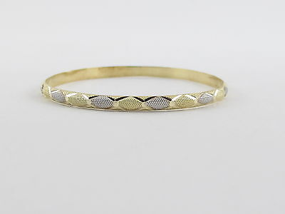 14K Yellow And White Gold Kids Children Bangle Bracelet 6   310 grams