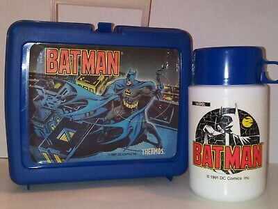 Vintage~Plastic Batman Lunch Box with Thermos~1991~DC Comics Batman Lunch Box