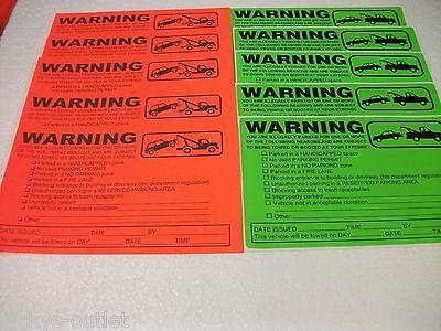 60-ORANGE & GREEN VIOLATION NO PARKING TOWING WARNING SIGN CAR WINDOW STICKERS