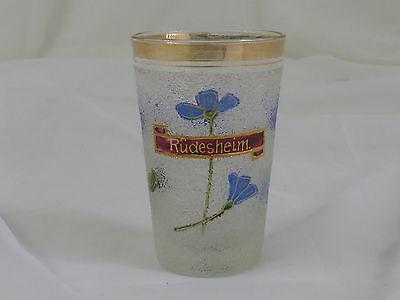 Andenken-Becher Rüdesheim Weinstadt Rheingau-Taunus-Kreis Eisdekor Blumenmalerei