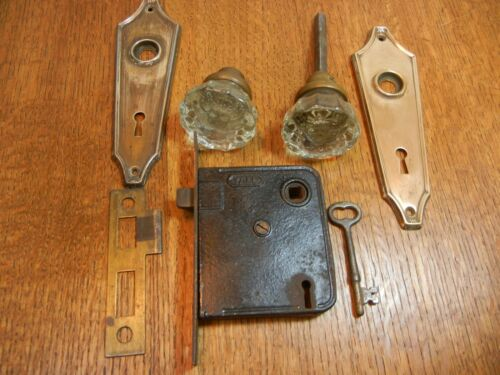 VINTAGE LOCKSET w/GLASS KNOBS, MORTISE LOCK KNOB PLATES STRIKE PLATE& KEY