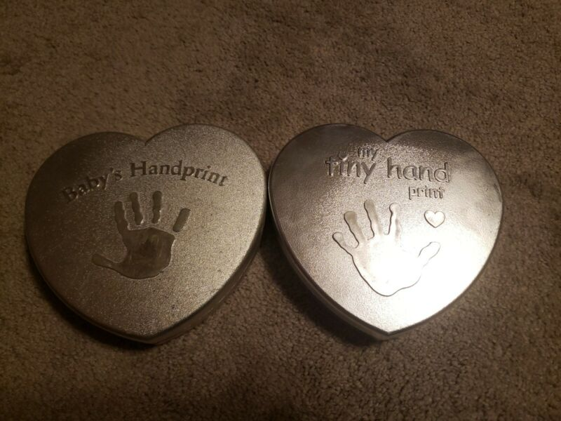 Baby Heart Shaped Hand Print Kits in a Silver Box -opened but unused (b)