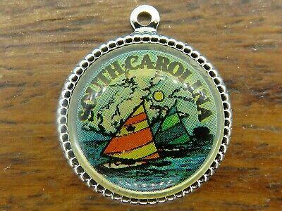 Vintage sterling silver SOUTH CAROLINA SAILBOATS SOUVENIR TRAVEL SHIELD charm