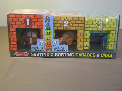 New Melissa & Doug Nesting Stacking Sorting Garages and Cars 14 Pieces Sealed