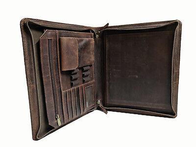 Vintage Leather Portfolio Padfolio A4 File Folder Organizer Office Planner