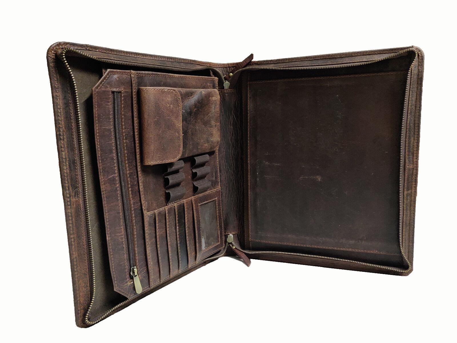 Leather Portfolio Executive Padfolio A4 File Folder Organize