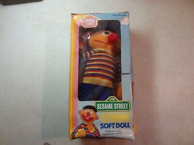 Vintage Sesame Street Ernie Soft Doll w/Original Box-NOS- 1983 & 1985-Toy