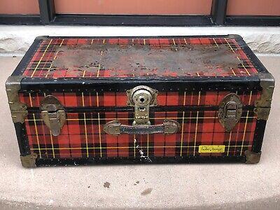 Vintage Chest Trunk Tartan Plaid Storage JC HIGGINS SEARS ROEBUCK LOCKER LOUNGER