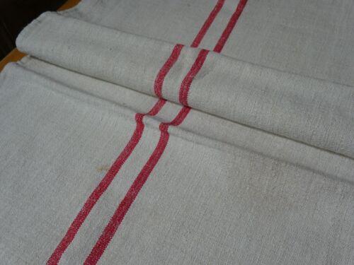 Antique European Feed Sack GRAIN SACK Red Stripes # 10398
