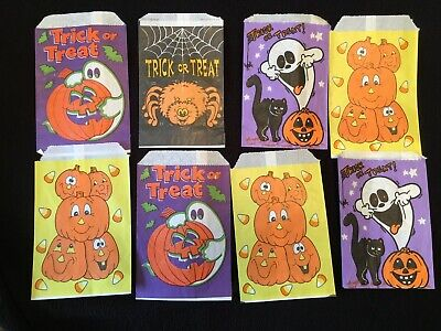 Halloween Paper Candy Bags (Lot Of 16 Vintage Paper Trick or Treat CANDY Bags Halloween GHOST)
