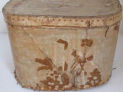 Antique Wallpaper Hat Band Box 19th c. 1840