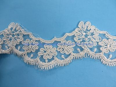 2 Yards 5cm Lace Trim Applique Costume DIY Sewing Crafts Off White