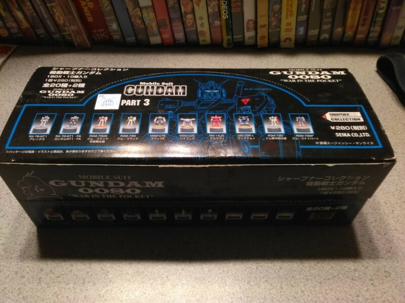 "Mobile Suit Gundam 0080 ""War In The Pocket"" sharpeners-10 unopened boxes in case"