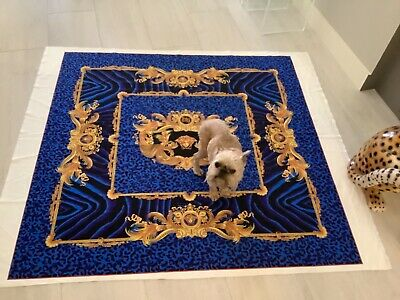 VERSACE WILD DV BLUE ANIMAL PRINT VELVET FABRIC 54/54 inch upholstery fabric