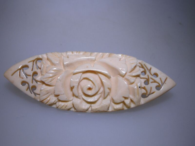 """LOVELY ANTIQUE ART NOUVEAU PIERCED & CARVED CELLULOID ROSES PIN SIGNED """"JAPAN""""!"""