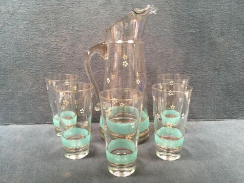 Vintage Turquoise Gold Glass Pitcher Glasses Set Dainty Flowers Juice Breakfast