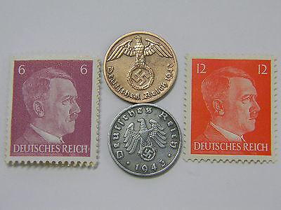 #63 Stamp WW2 1 Reichspfennig 1937-1939 Coin with SWASTIKA