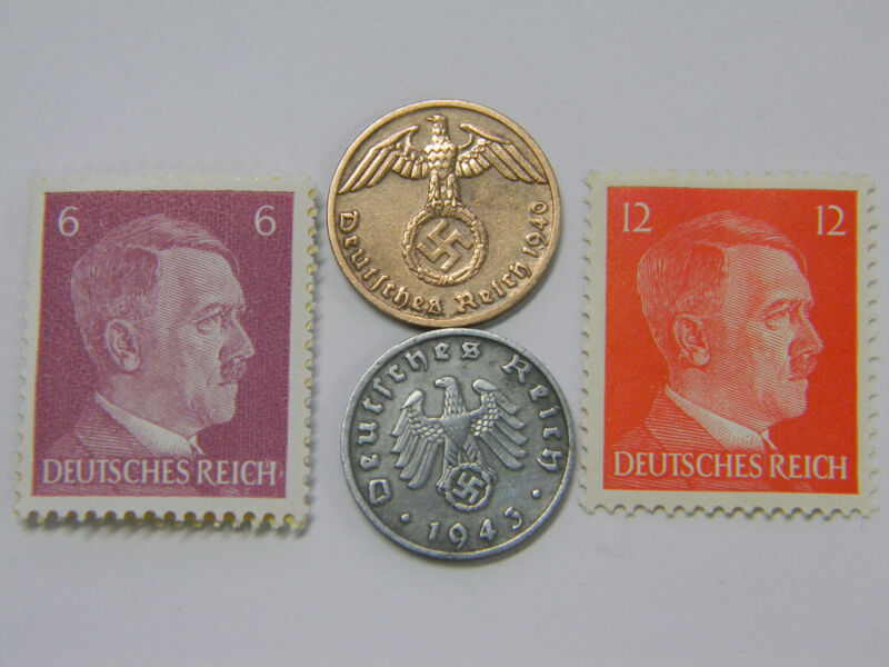 Rare Very Old Antique Vintage WW2 German Coin Stamp A.H. Collection Lot
