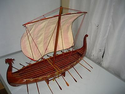"Viking Dragon boat high quality hand made wooden model ship 32"""